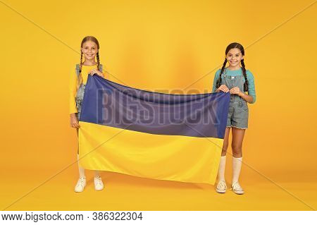 Patriotism Respect And Love To Motherland. National Identity Concept. Ukrainian Kids. Girls With Blu
