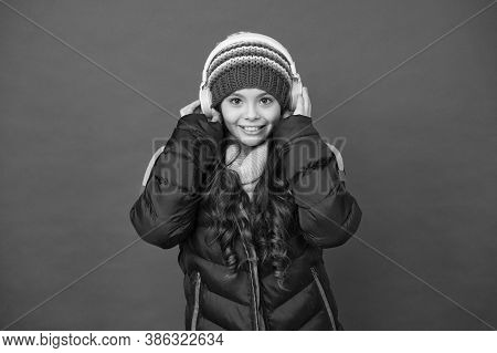 Audio Learning Is Awesome. Happy Child Enjoy Audio Learning. Little Girl Listen To Audio In Headphon