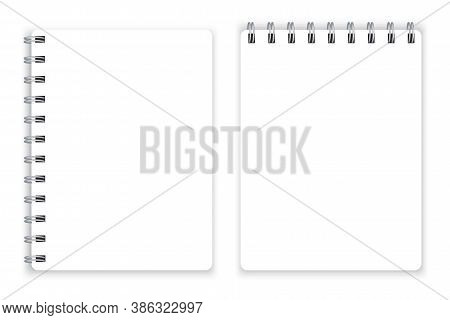 Blank Notepad. Spiral Notepad On Top And Side. Bound Diary Page. Vector Illustration.