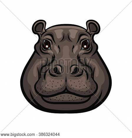 Hippopotamus Animal Wild Muzzle Head, Vector Isolated Symbol. Hunter Club Icon Or Hunting Sport And