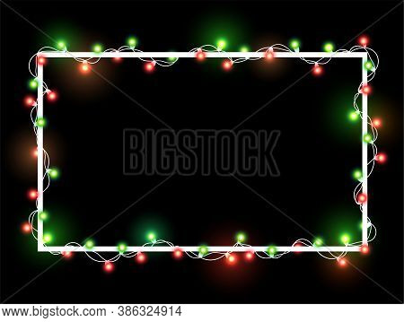 Christmas Bright Golden And Yellow Garland On White Square Frame. Template With Realistic Lights On