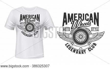 Winged Retro Car Wheel T-shirt Vector Print. Retro Automobile Wire-spoked Or Suspension Wheel, Wings