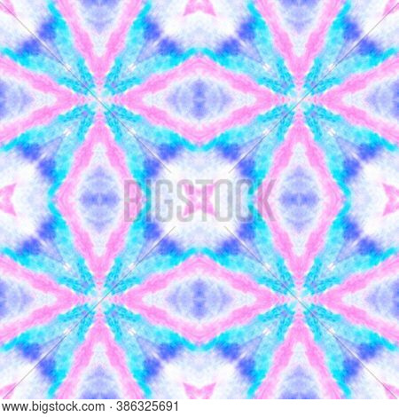 Seamless Victorian Tile Pattern. Drawn By Hand Fabric Design. Shibori Ethnic Ornament. Blue And Pink
