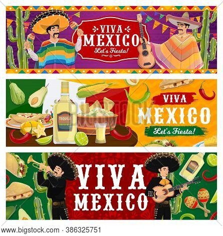 Viva Mexico, Fiesta Party Vector Banners. Mariachi Musicians In Sombrero And Poncho Playing Music. M
