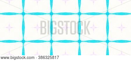 Watercolor Seamless Moroccan Pattern. Tunisian, Moroccan Style. Blue And White Ethnic Ornament. Abst