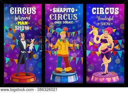 Big Top Tent Circus, Funfair Carnival Show Clowns And Performers Vector Banners. Big Top Circus Shap