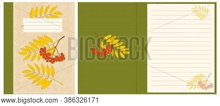 Colorful Cover Design With Rowanberry Twigs And Contour Drawing Autumn Leaves Pattern For Decorate N