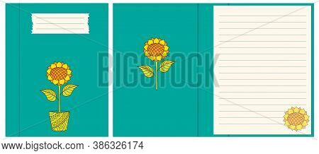 Colorful Cover Design With Hand Drawn Sunflower In The Pot For Decorate Notebook, Sketchbook, Copybo