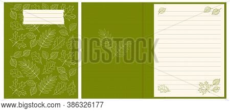 Colorful Cover Design With  Contour Drawing Autumn Leaves Pattern For Decorate Notebook, Sketchbook,