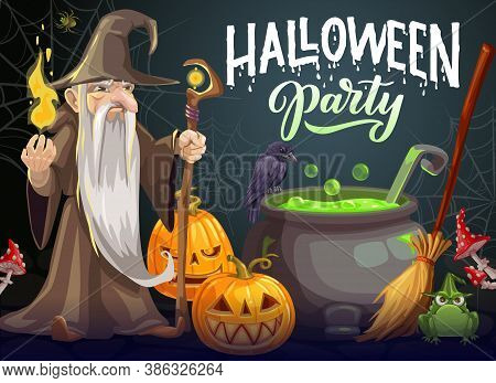 Halloween Party Cartoon Vector Poster. Wizard With Long White Beard, Gown And Hat Hold Magic Staff A
