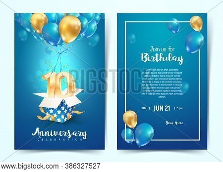 Celebration Of 10 Th Years Birthday Vector Invitation Card. Ten Years Anniversary Celebration Brochu