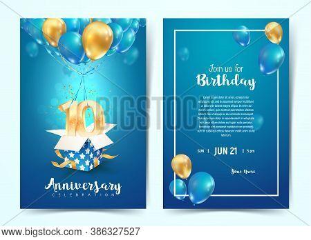Celebration Of 10 Th Years Birthday Vector Invitation Card. Ten Years Anniversary Celebration Brochu
