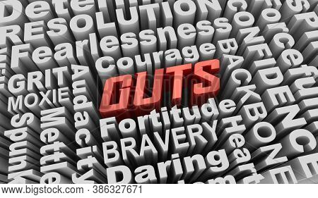 Guts Courage Bravery Mettle Fearless Qualities Words 3d Illustration