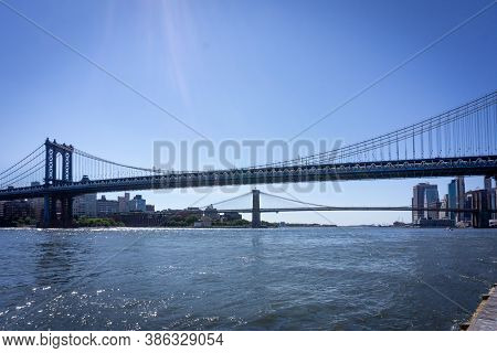 New York,ny / Usa - September 19 2020: Two Bridges: Brooklyn Bridge And Manhattan Bridge Over East R