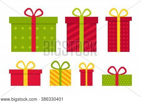 Gifts On Christmas. Present Box For Xmas. Icons For Holiday. Surprise With Bows. Cartoon Stack For B