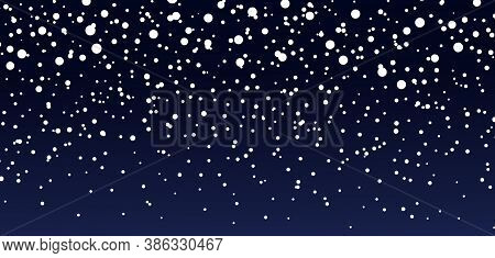 Snow Background. Blue Sky At Night. Christmas Snowfall In Winter. Falling Of Snowflake. Starry Fall.