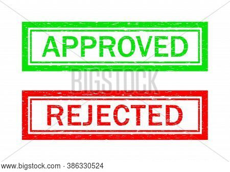 Stamp Of Approve And Reject. Grunge Icon For Test Of Quality. Rubber Seal For Certificate. Green And