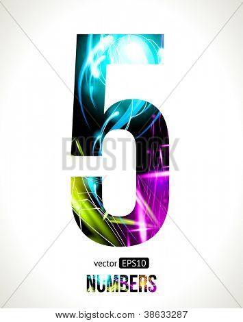 Vector design light effect alphabet. Easy customizable. Number 5.