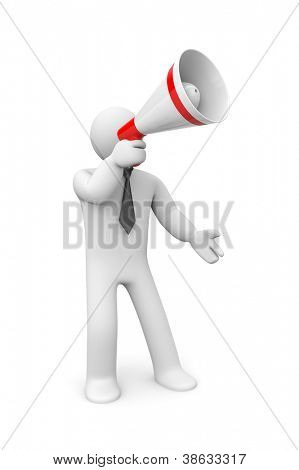 Businessman speaks in megaphone