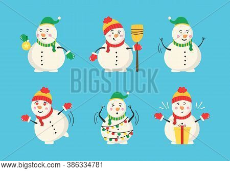 Snowman Collection For Christmas And Winter. Cheerful Snowmen In Different Costumes. Set Of Characte