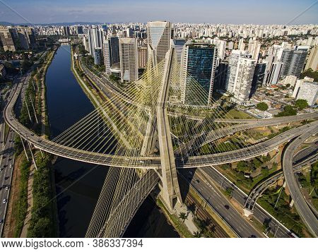 Cable Stayed Bridge. Sao Paulo City, Brazil South America.