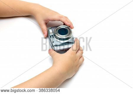 Kid Hands Hold Digital Old Camera Soap Box On Isolated White Background, Kids Hobby Concept, Learnin