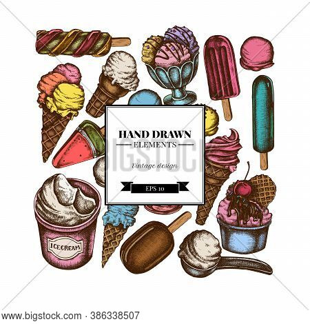 Square Design With Colored Ice Cream Bowls, Ice Cream Bucket, Popsicle Ice Cream, Ice Cream Cones St