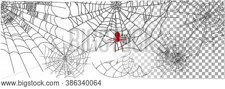 Set Of Different Spiderwebs Isolated On Transparent Background, Easy To Print. Halloween Set With We