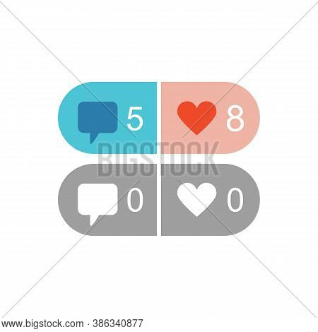 Active And Inactive Isolated Like And Comment Design Elements Icons In Social Media On White Backgro