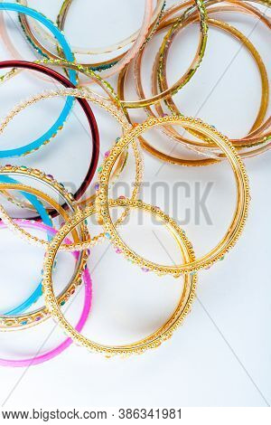 Indian Different Types Of Bangles Isolated Closeup.