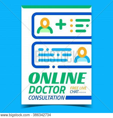 Online Doctor Consultation Advertise Banner Vector. Personal Internet Medical Consultation, Chat Ass