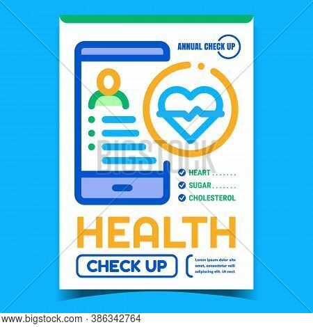 Health Check Up Creative Advertising Poster Vector. Heart, Sugar And Cholesterol Check Up Mobile Pho