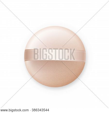 Powder Puff Skin Cosmetology Accessory Vector. Softness Cosmetic Puff For Portable Woman Tool. Fashi