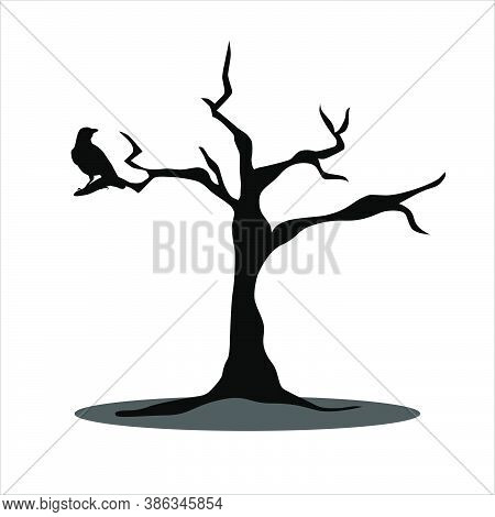 Black Scary Of Crow On The Tree Icon So Creepy For Halloween Day.