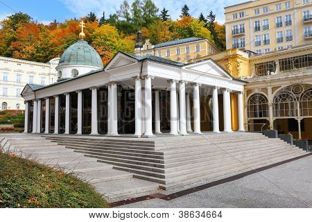 Marianske Lazne Spa, Cross Spring Pavilion. The most famous spring heavily mineralized with a laxative effect.  Czech Republic, Europe