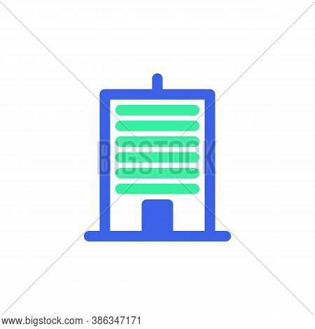 Office Building Icon Vector, Filled Flat Sign, Bicolor Pictogram, Townhouse Green And Blue Colors. S