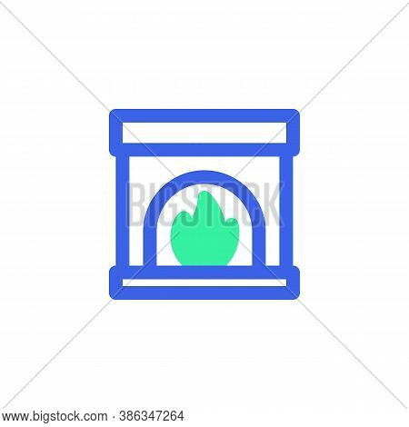 Fireplace Burn Icon Vector, Filled Flat Sign, Bicolor Pictogram, Fireplace Green And Blue Colors. Sy