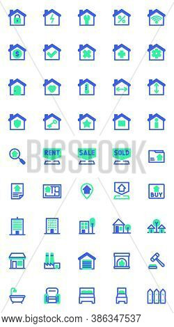 Real Estate Vector Icons Set, Modern Solid Bicolor Symbol Collection, Filled Style Pictogram Pack. S