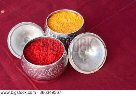 Closeup Of Silver Plate With Kumkum & Turmeric On The Festival Of Makar Sankranti. It Is One Of The