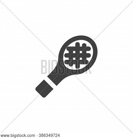 Badminton Racket Vector Icon. Filled Flat Sign For Mobile Concept And Web Design. Tennis Racket Glyp