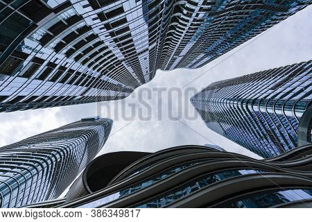 Modern Buildings In Chengdu City Of China Against The Sky