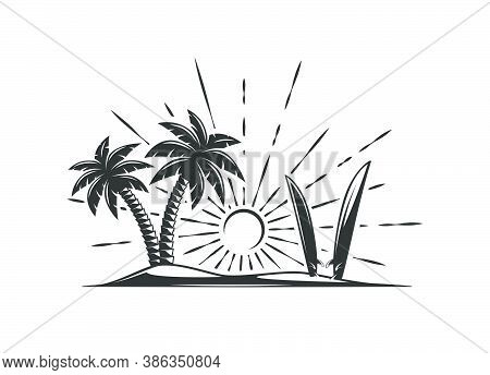 Island With Palm Trees And Surfboards Isolated On White Background. Design Elements. Vector Illustra