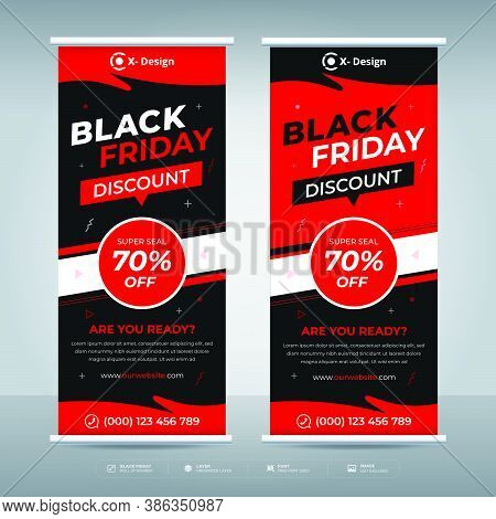 Black Friday Offer Promotion Sale Banner, Black Friday Roll Up Banner, Black Friday Sale Banner.