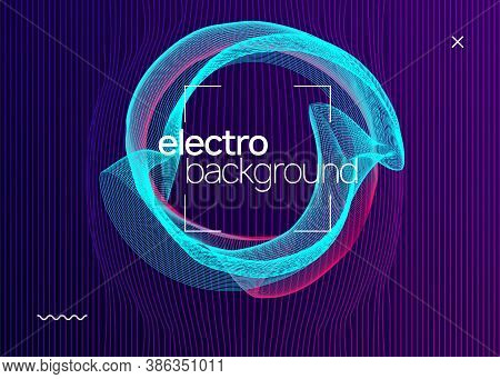 Electro Event. Futuristic Concert Invitation Layout. Dynamic Fluid Shape And Line. Electro Event Neo