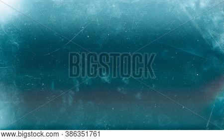 Scratched Ice Background. Aged Glass Texture. Teal Blue Old Window Effect Overlay With Dust.