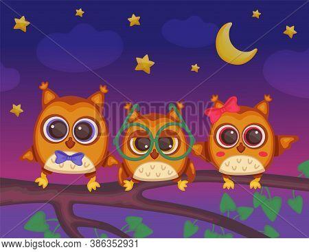 Night Owls Childish Cartoon Characters Sitting On Tree Branch, Flat Vector Illustration.