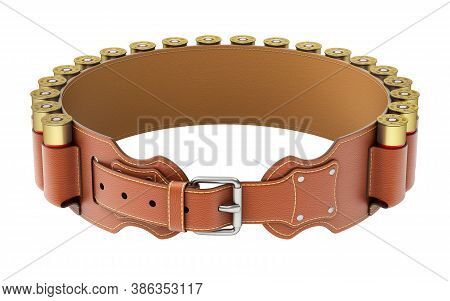 Leather Bandolier With Cartridges Isolated On White Background - 3d Illustration