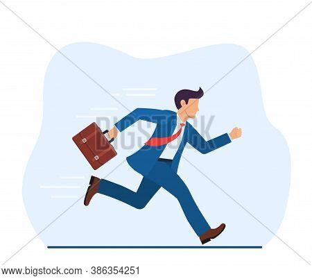 Business Man With Briefcase Running Fast With Waving Necktie. Late Business Person Rushing In A Hurr