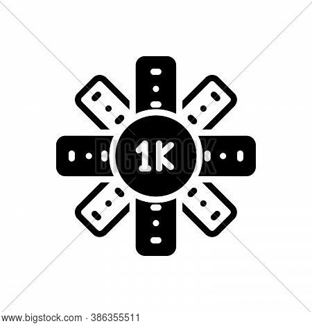Black Solid Icon For Thousand Mile Number Label Count Measure Large-integer Grand