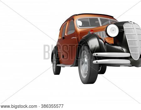 3d Rendering Classic Retro Car Front Red On White Background No Shadow